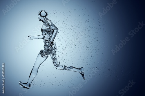 Human body shape of a running man filled with blue water on blue gradient backgr Fototapet