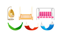 Bench Swings And Hammocks Hanging On Rope Vector Set