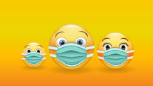 Be Responsible And Protected - A Family Of 3D Yellow Emoticons In Medical Masks. Wear A Medical Mask To Prevent The Spread Of The Disease. Vector