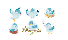 Cute Blue Bird Sitting In The Nest And Flying With Spread Wings Vector Set