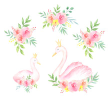 Watercolor Swans And Bouquets ...