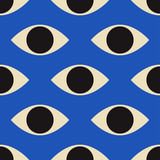 Seamless pattern with minimal 20s geometric design with eyes, vector template with primitive shapes elements - 338374781
