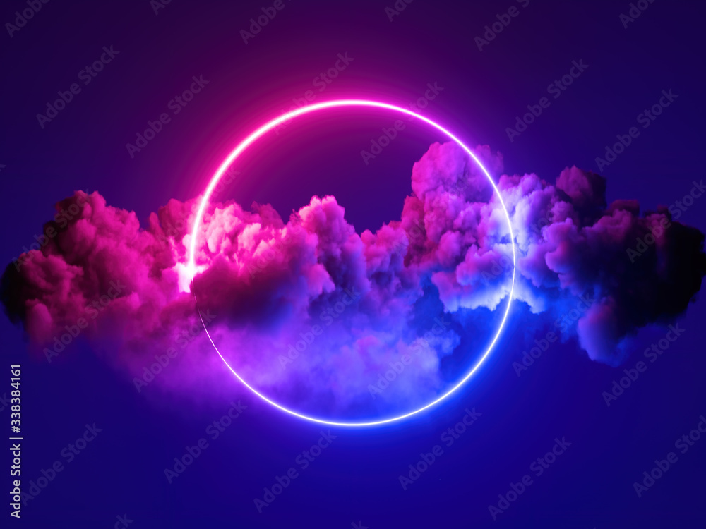 Fototapeta 3d render, abstract minimal background, pink blue neon light round frame with copy space, illuminated stormy clouds, glowing ring geometric shape.