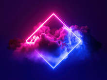 3d Render, Abstract Minimal Background, Pink Blue Neon Light Square Frame With Copy Space, Illuminated Stormy Clouds, Glowing Geometric Shape.