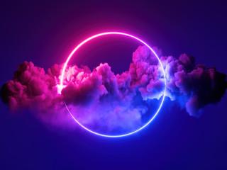 3d render, apstraktna minimalna pozadina, ružičasto plavo neonsko svjetlo okrugli okvir s prostorom za kopiranje, osvijetljeni olujni oblaci, užareni prsten geometrijskog oblika.