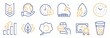 Set of Business icons, such as Messenger mail, Time. Certificate, save planet. Time change, Piano, Water drop. Shoulder strap, Analysis graph, Organic tested. Ice tea, Recovery data line icons. Vector