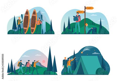 Eco tourism and eco traveling concept set Slika na platnu