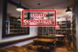 Closed due to coronavirus sign on defocused empty wine restaurant bar room