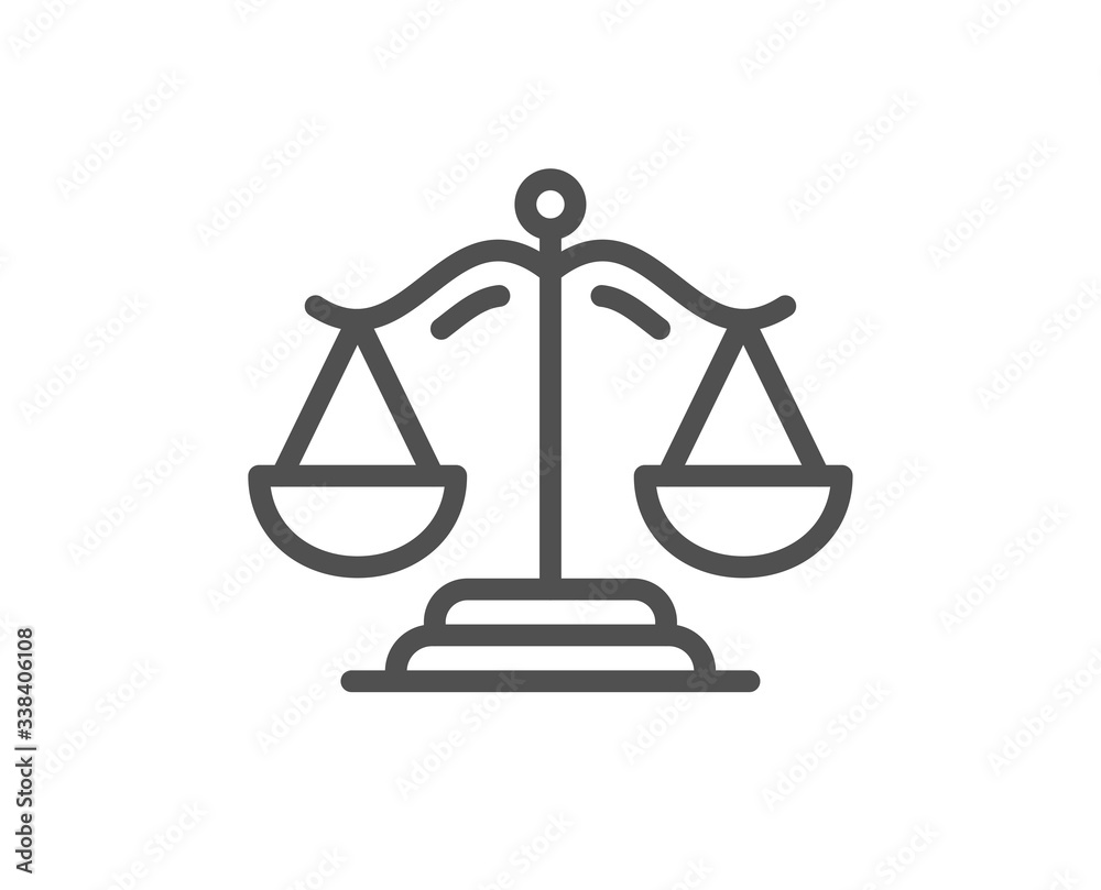 Fototapeta Justice scales line icon. Judgement scale sign. Legal law symbol. Quality design element. Editable stroke. Linear style justice scales icon. Vector