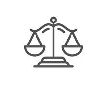 Justice Scales Line Icon. Judg...