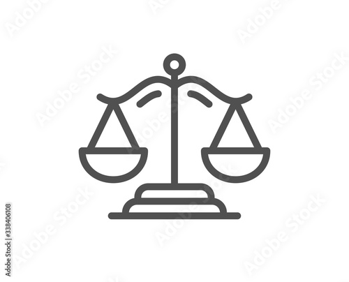 Fotografering Justice scales line icon
