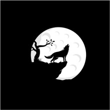 Howling Wolf Silhouette With Moon Illustration Logo Design