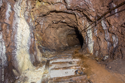 Underground bauxite mine tunnel collapsed concrete lining Wallpaper Mural