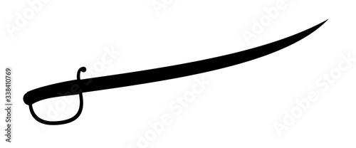 Cavalry saber sword icon silhouette isolated on white background Billede på lærred