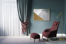 Cozy Green Living Room. Window With Dense Green Curtains With A Burgundy Wrong Side, A Horizontal Poster Above A Burgundy Armchair With A Pouf For Legs Next To The Lamp. Front View. 3d Render