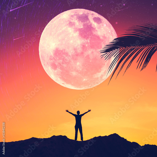 Fototapeta Man raise hand up on sunset sky with full moon and palm leaf abstract background. Copy space of freedom travel adventure and business victory concept. obraz
