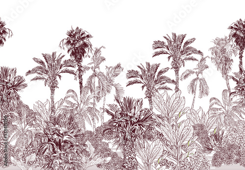 Fotografía Seamless Border Vintage Etching Tropical Jungle Pattern, Toile Tropics Wallpaper