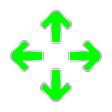 Fluorescent Green Expand Arrow Isolated On White, Arrows Pointing Out In A Square Shape, Expand Arrow Icon For Resizes, Drag Arrow For All Direction App, Arrows Pointer Cursor Of Mouse Expanding Icon
