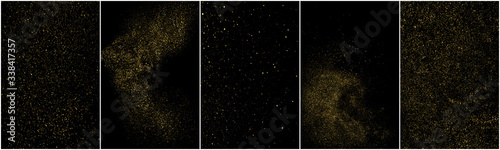 Foto Set of Gold Glitter Texture Isolated on Black Background