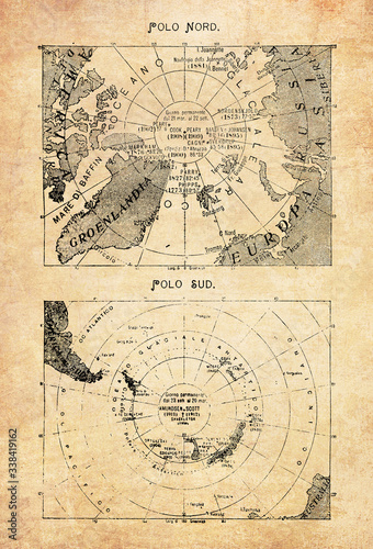 Fotografia Ancient maps of the North Pole  in the middle of the Arctic Ocean and the South