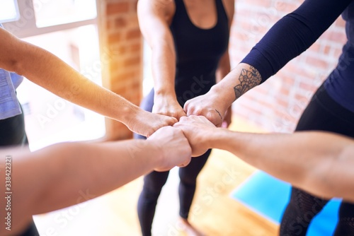 Fototapety, obrazy: Young beautiful sportwomen doing gesture with hands