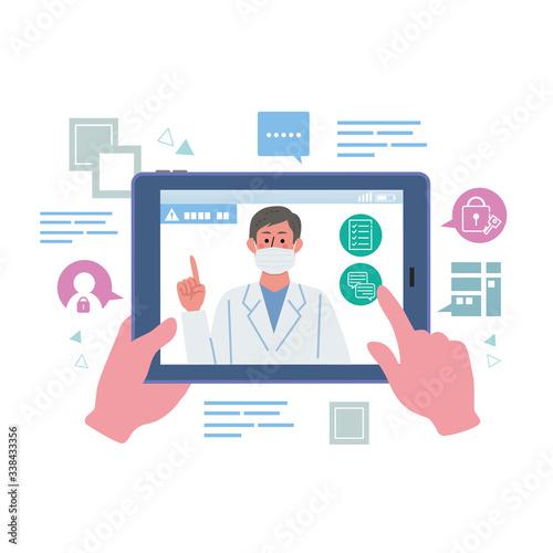 オンライン診療 医師 コロナウイルス 感染予防 イラスト Wallpaper Mural