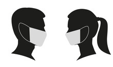 Man And Woman Profile Face Sil...