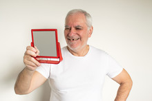 Old Man Senior Face Closeup Missing Tooth Smile Proper Tooth Looking Mirror Overexposed Not In Focus