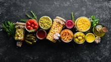 Food Stocks In Glass Jars. Pic...