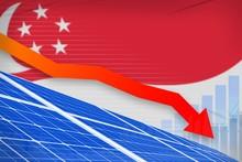 Singapore Solar Energy Power Lowering Chart, Arrow Down - Alternative Natural Energy Industrial Illustration. 3D Illustration