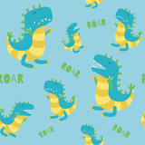 Fototapeta Dino - Dinosaur seamless pattern. Roaring Dinos on blue background. Vector illustration in cute cartoon style
