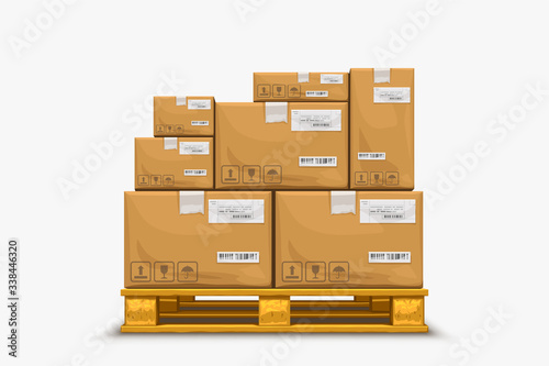 pallet with boxes on white Wallpaper Mural