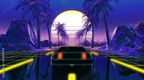 Photo 80s retro futuristic sci-fi 3D illustration with vintage car