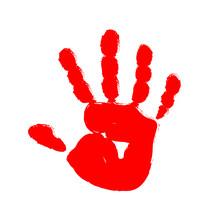 Red Hand Print. Vector Illustration