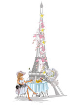 Paris Lettering Decorated With Flowers And Fashionable Girls. Hand Drawn Vector Illustration