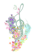 Abstract Treble Clef Decorated...