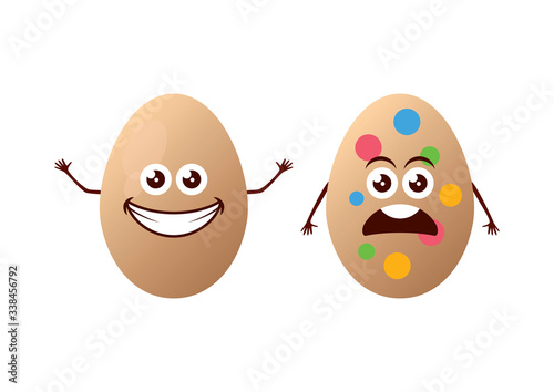 Happy and unhappy easter eggs vector Wallpaper Mural