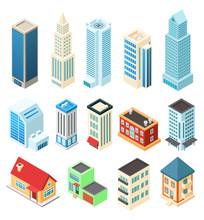 Isometric Buildings Set Isolat...