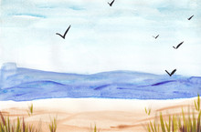 Watercolor Summer Sea Landscap...