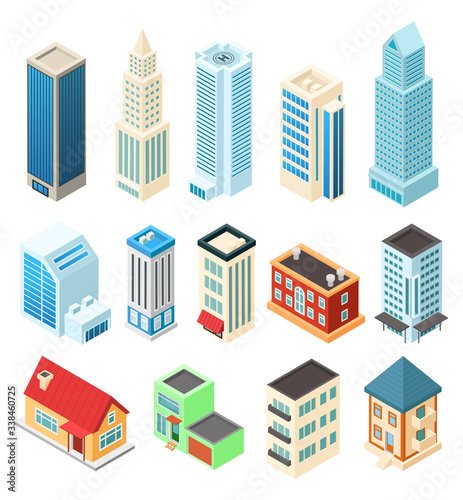 Fototapeta Isometric buildings set isolated on white, office skyscraper and residential house, vector illustration. Modern city architecture, set to build isometric metropolis. American downtown urban building obraz