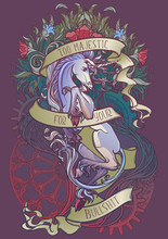 Colourfull And Intricate Drawing Of Hte Legendary Unicorn On A Decorative Flames And Plants Ornament With A Motivation Motto. Vintage Logo. EPS10 Vector Illustration