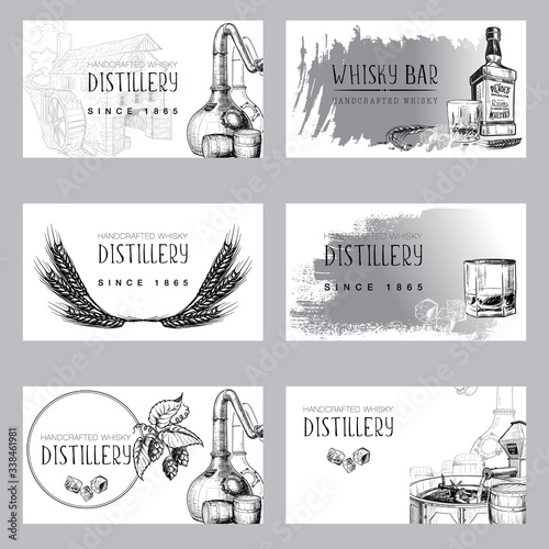 Set of business card templates for the whisky related businesses Canvas Print