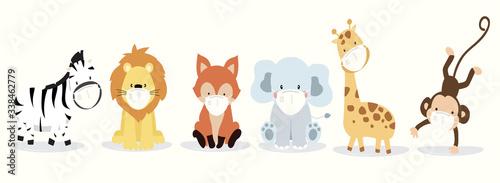 Fototapeta premium Kolekcja uroczych zwierząt z lwem, lisem, zebrą, tygrysem, słoniem, małpą maską. Ilustracja wektorowa do zapobiegania rozprzestrzenianiu się bakterii, koronwirusów