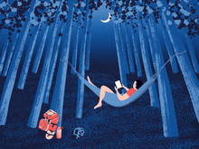 A Boy Reading In The Woods Under Moonlight At Night