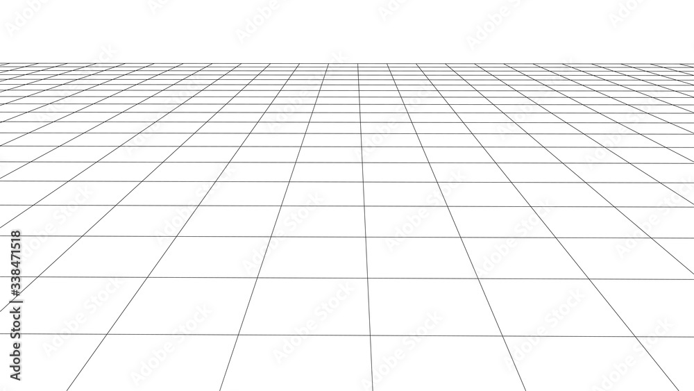 Fototapeta Abstract wireframe perspective grid on white background widescreen illustration.