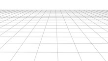 Abstract Wireframe Perspective Grid On White Background Widescreen Illustration.