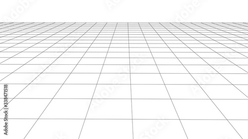 Fotografiet Abstract wireframe perspective grid on white background widescreen illustration