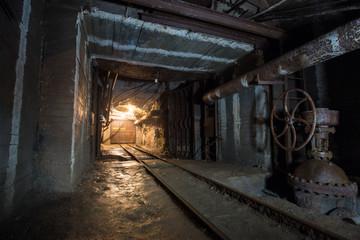 Fototapeta na wymiar Underground gold mine shaft tunnel drift with rails and doors