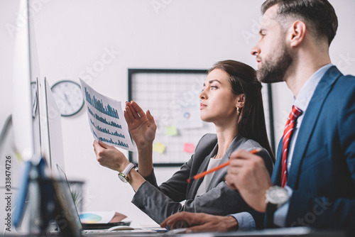 Photo Side view of data analysts using charts while assessing risk in office