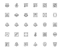 Properties Of Fabrics And Clothes Icon Set In Outline Style